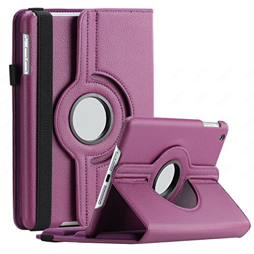 (SAVEICON iPad Mini 4 Case 360 Degree Swivel Rotating PU Leather Case Cover Stand for Apple iPad Mini 4 4th Gen with Sleep and Wake Function (Purple))