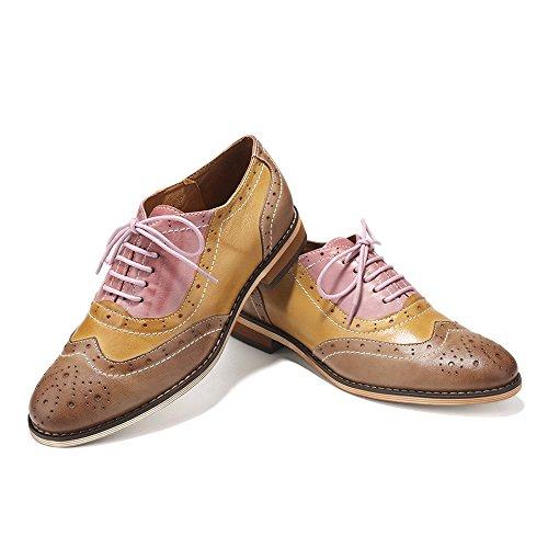 Mona Volant Femmes Genunie Cuir Lacets Appartements Oxfords Chaussures Multicolor Cru Brougue Chaussures