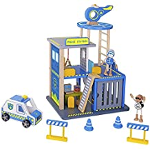 Pidoko Kids Police Station Playset - Everyday Heroes Wooden Toys Play Set with Accessories Car, Helicopter and More - For Boys & Girls Toddlers 3 year old and up