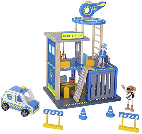 Pidoko Kids Police Station Playset - Everyday Heroes Wooden Toys Play Set, with Accessories - Toy Dollhouse For Boys & Girls Toddlers 3 year old and up