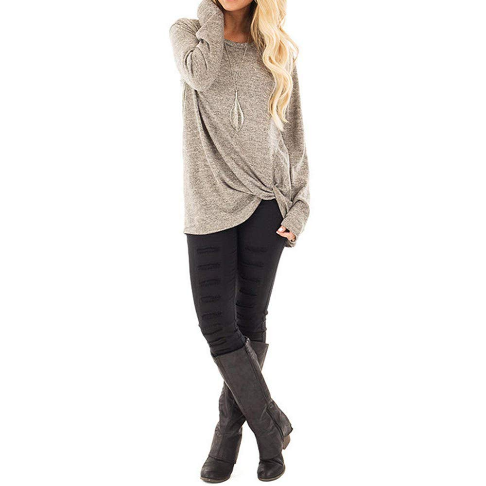 LIGESAY Women Tunic Tops Plus Size Long Sleeve Top Ladies T Shirt Loose Twisted Blouses Jumper Womens Sweatshirt Workwear Pullover Hoodies Black Khaki Gray Multicolors UK Size 8-20