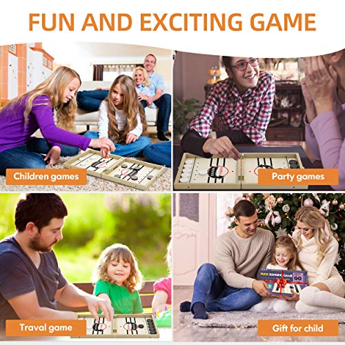 Fast Sling Puck Game & Wooden Chess Set, Foldable Wooden Hockey Board Games for Kids and Adults, Sport Battle Table Game, Toys for 6-12 Boys and Girls, Foosball Winner Board Games(22.7 x 12.5 inch)