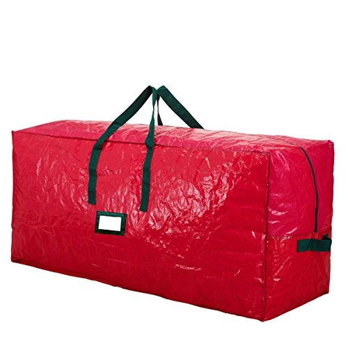 Premium Red Extra Large Holiday Christmas Tree Storage Bag-Fits Trees up to 9 Feet Tall-Tear Resistant Zippered Bag with Reinforced Handles -65 x 15 x 30 (RED) by HolidayStorage