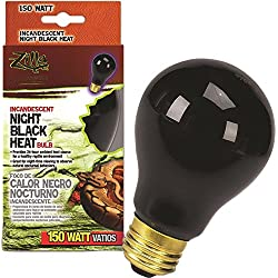 Zilla Reptile Terrarium Heat Lamps Incandescent Bulb, Night Black,150W