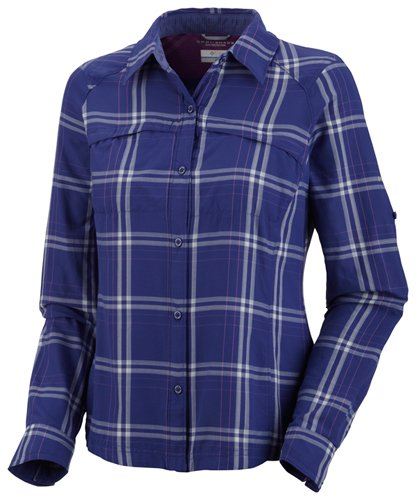 Columbia Silver Ridge Plaid Long Sleeve Shirt, X-Small, Clematis Blue