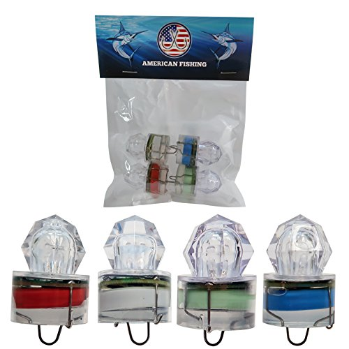 Deep Drop LED Fishing Lights-Water Activated Flashing Strobe Lights-Rated up to (3,280ft)-Diamond Shape-Pack of 4 (1 Red, 1 White, 1 Blue, 1 Green)-Salt & Fresh Water Fishing
