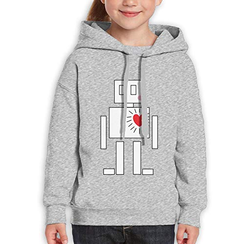 White Robot with Red Hearts Kids Hoody Print Long Sleeve Sweatshirts for Girl by Qiop Nee