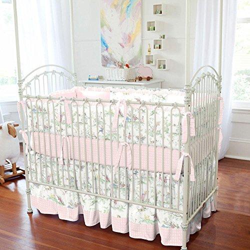 Carousel Designs Pink Over the Moon Toile Crib Skirt Gathered 14-Inch Length - Nursery Rhyme Toile Crib Bedding