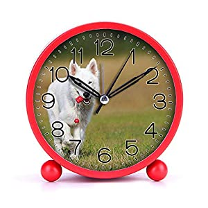 Cute Color Alarm Clock, Round Metal Desk Clock Portable Clocks with Night Light House Decorations -520.swiss-shepherd-dog-dog-white-animal-46523 (Black) 25