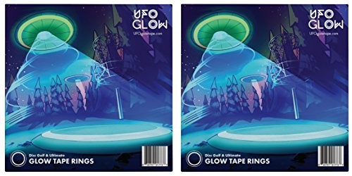 UFO Glow Disc Golf and Ultimate Glow Tape Rings Night Golf Pack of 2 (8 Glow Rings and 10 Glow Dots Included)