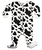 Leveret (F) Footed Black & White Cow Print Fleece