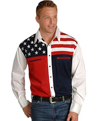 Scully Mens Patriotic American Flag Colorblock Western Shirt Big and Tall