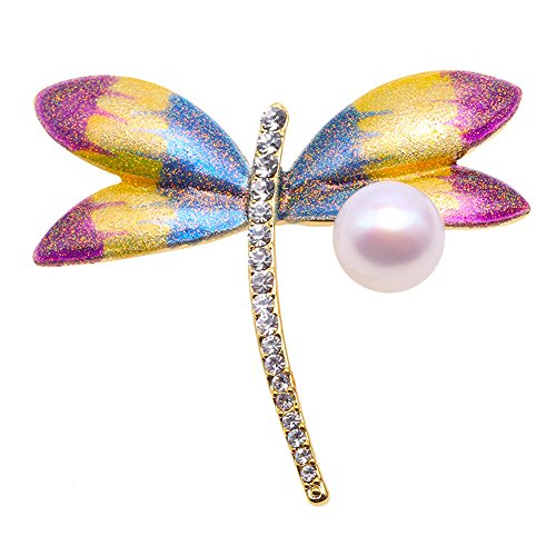 - Elegant Dragonfly-style10.5mm Freshwater Cultured Pearl Brooch Pin