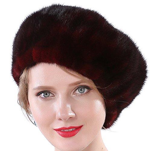 (Valpeak Women Cap Winter Mink Fur Berets Hat (Wine Red))