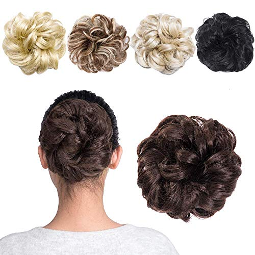 MelodySusie Hair Bun Extensions Wavy Curly Messy Hair Extensions Donut Hair Chignons Hair Piece Wig (Brown) from MelodySusie