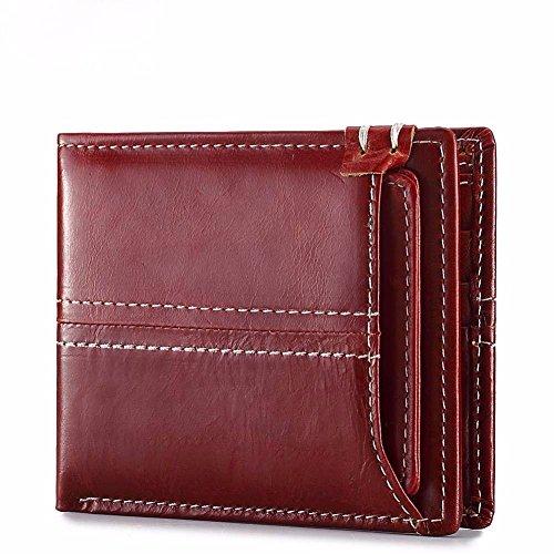 Men's LIGYM bag pocket money pocket wallet open Mini brown Leather 6PFrdq8P