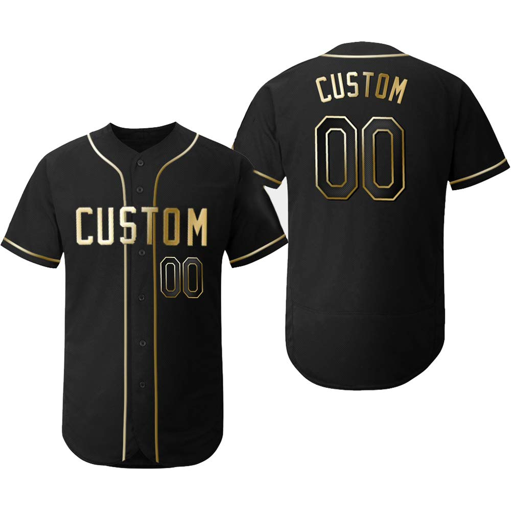 Custom Youth Black Flex Baseball Jersey with Embroidered Player Team Name and Your Numbers,Golden Edition Size 2XL by DEHUI