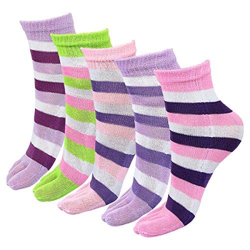 Price comparison product image Posher TM FL6 Girls Stripe Elastic Five Fingers Toe Socks (Random Color)