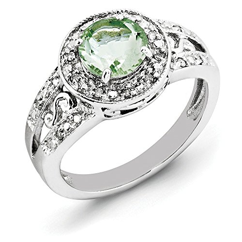 925 Sterling Silver Green Quartz Diamond Band Ring Size 7.00 Gemstone Fine Jewelry Gifts For Women For Her