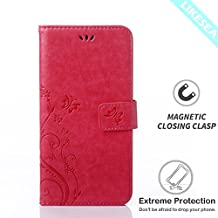 Huawei Y6 Case, LIKESEA Butterfly Floral Series Leather Wallet Case Flip Cover with Card Slot and Magnetic Closure for Huawei Y6 - Magenta