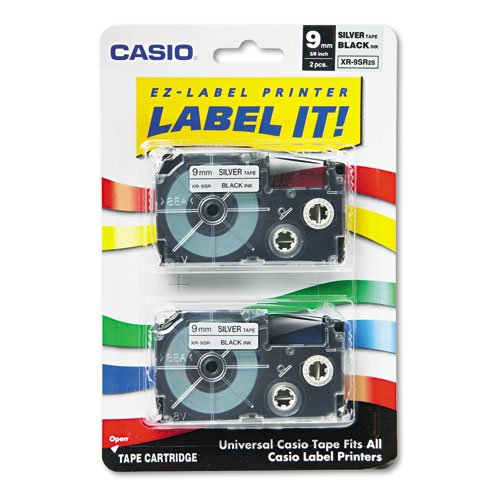 ''Tape Cassettes for KL Label Makers, 9mm x 26ft, Black on Silver, 2/Pack'' by Casio