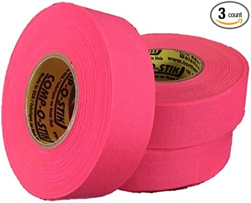 Made In The U.S.A 3 Rolls of Comp-O-Stik NEON PINK Hockey Lacrosse Bat Cloth Stick Tape ATHLETIC TAPE 1 X 20 Yards 3 Pack