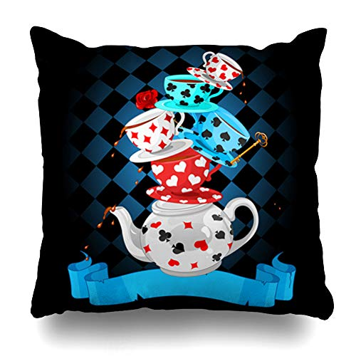 Ahawoso Throw Pillow Cover Ceramic Hatter Wonderland Mad Tea Party Pyramid Clip Food Drink Alice Cup Magic Pattern Design Pot Home Decor Pillowcase Square Size 20 x 20 Inches Zippered -