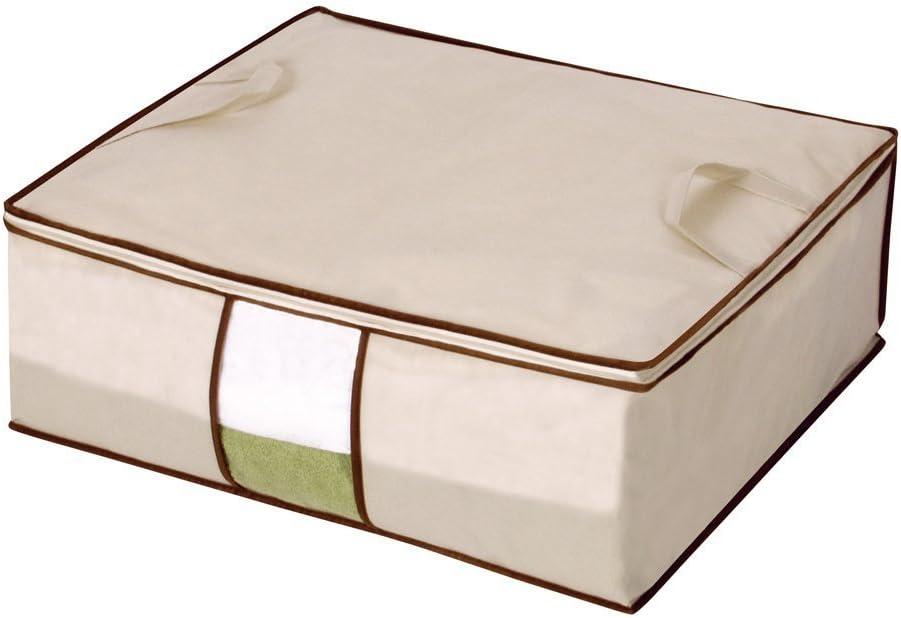 Storage Maniac Storage Bag Blanket Storage with Zipper Beige 3-Pack Seasonal Clothes Organizer with Clear Window
