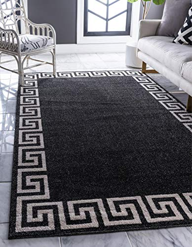 Unique Loom Athens Collection Geometric Casual Modern Border Charcoal Area Rug (9' 0 x 12' 0)