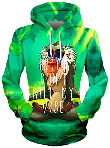 On Cue Apparel Meditating Rafiki Hoodie - Premium All Over Print Graphic Hoodies - Medium