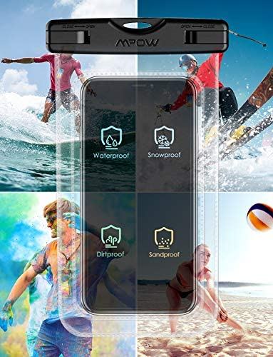 "Mpow 097 Universal Waterproof Case, IPX8 Waterproof Phone Pouch Dry Bag Compatible for iPhone 12/12 Pro Max/11/11 Pro/SE/Xs Max/XR/8P/7 Galaxy as much as 7"", Phone Pouch for Beach Kayaking Travel (2 Pack)"