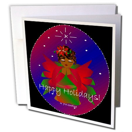 Search : 3dRose African-American Christmas Angel Baby Girl Praying With Happy Holidays Text - Greeting Cards, 6 x 6 inches, set of 6 (gc_6944_1)