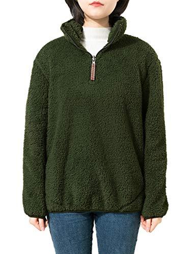 Jjyee Fleece Sherpa Pullover Womens 1/4 Zip Fleece Fuzzy Sweatshirt Reversible Pullover Long Sleeve Soft Outwear Sweater (Green,X-Large) - Sherpa Green