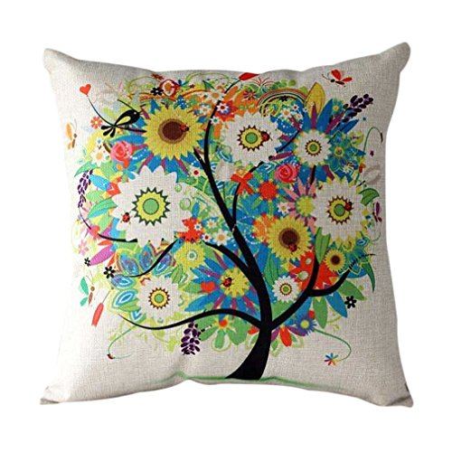 living room pillows. Onker Cotton Linen Square Decorative Throw Pillow Case Cushion Cover 18  x Colorful Pastoral Style Tree of Life Indoor Living Room Pillows Amazon com