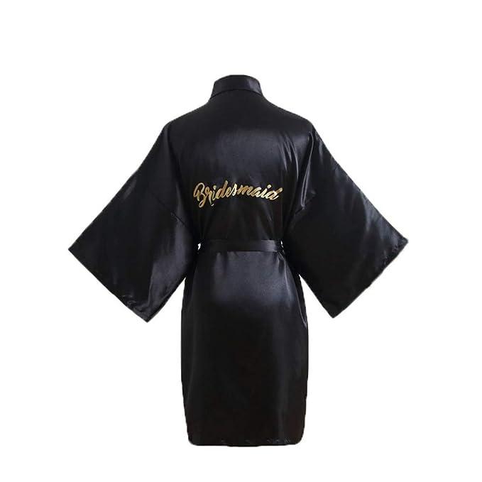 Kimono Mujer Bata para Satén Mujer Ropa de Dormir Batas, Black ...