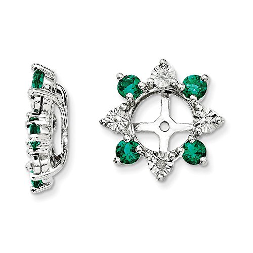 925 Sterling Silver Rhodium Diamond and Created Emerald Earring Jacket by Diamond2Deal