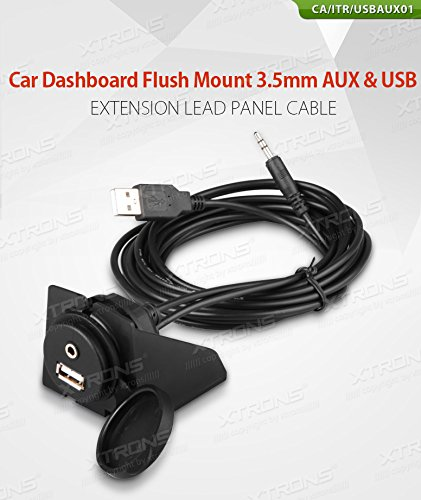 XTRONS Car Dashboard Flush Mount USB 2.0 3.5mm AUX Socket Extension Lead Panel Cable