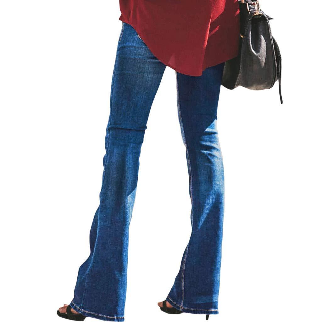 Pantaloni Donna Dragon868 Eleganti Jeans Zampa Strappati Bootcut Bottone Taglie Forti Denim Elastico Women Pants