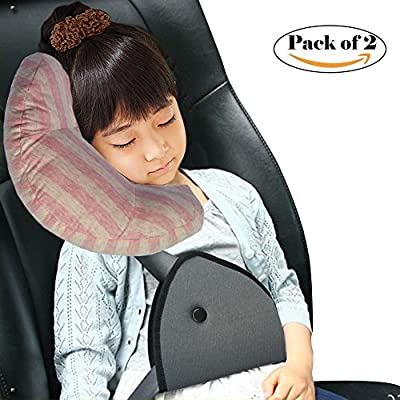 Travel Pillow for Kids, Wo Baby Car Seatbelt Cushion Pillow Strap Covers, Children Head&Neck Support, Snooze Comfort in Car