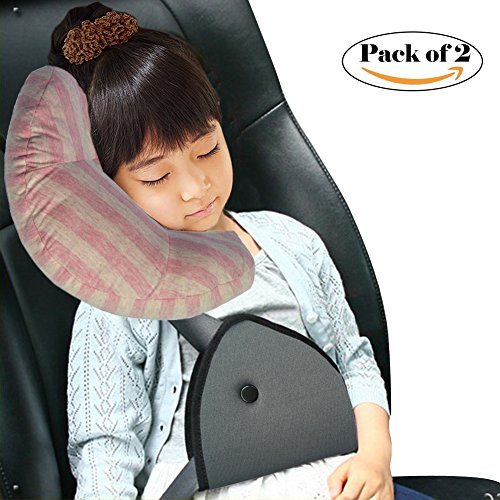 Seatbelt Pillow and Seatbelt Adjuster, Wo Baby Car Seatbelt Cushion Comfort Safety Cover for Kids 2pcs