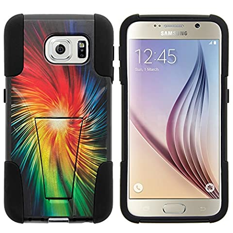 Galaxy S6 Case, Dual Layer Shell STRIKE Impact Kickstand Case with Unique Graphic Images for Samsung Galaxy S6 VI SM-G920 (T Mobile, Sprint, AT&T, US Cellular, Verizon) from MINITURTLE | Includes Clear Screen Protector and Stylus Pen - Rainbow (Verizon Vortex Phone Case)