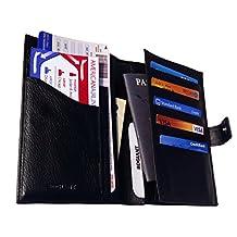 Bdgiant Genuine Leather Passport Wallet and Ticket Holder - for Men & Women (Black)