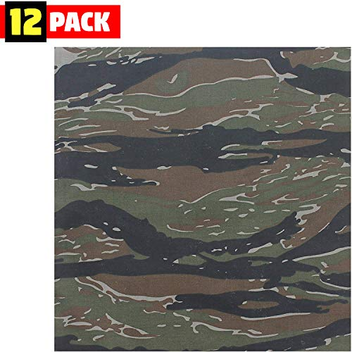 Tiger Cotton Headwrap - DOZEN - Camo Military Bandanas, Army Camouflage Headwraps 22