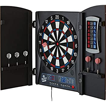 Image of Darts & Equipment Fat Cat Mercury Electronic Dartboard, Built In Cabinet Doors With Integrated Scoreboard, Dart Storage For 6 Darts, Dual Display In Two Colors, Compact Target Face For Fast Play