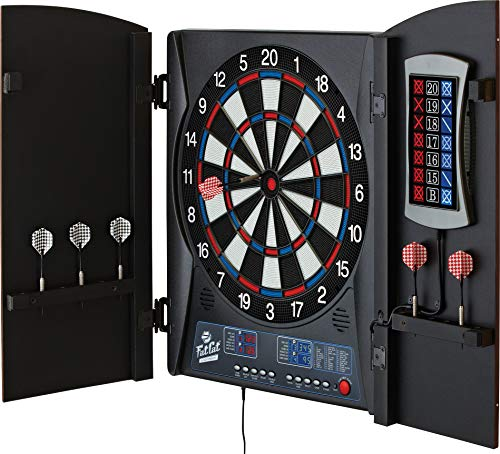 (Fat Cat Mercury Electronic Dartboard, Built In Cabinet Doors With Integrated Scoreboard, Dart Storage For 6 Darts, Dual Display In Two Colors, Compact Target Face For Fast Play, 25/50 Bullseye Option)