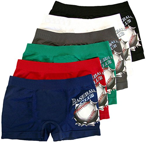 ToBeInStyle-Boys-Pack-of-6-Seamless-Boxer-Briefs-Baseball-Club