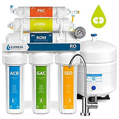 Express Water Deionization Reverse Osmosis Water Filtration System – 6 Stage RO DI Water Filter with Faucet and Tank – Distilled Pure – Under Sink Home Water Softener – 100 GPD with Pressure Gauge