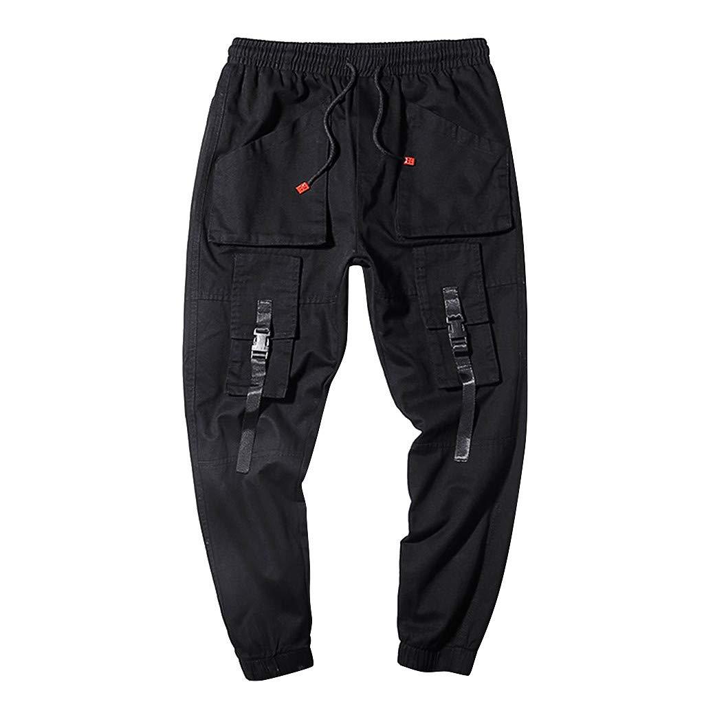 Men's Harem Cargo Pants | Men Regular Fit Stylish Multi Pocket Ankle-Length Work Trousers | Solid Color Jogger Workout Sweatpants