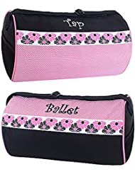 Sassi Designs Girls Ballet Tap Combo Roll Duffel Bag, Small, Pink/Black