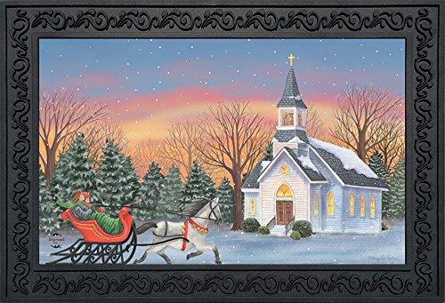 (Briarwood Lane One Horse Open Sleigh Christmas Doormat Winter Church Indoor Outdoor 18